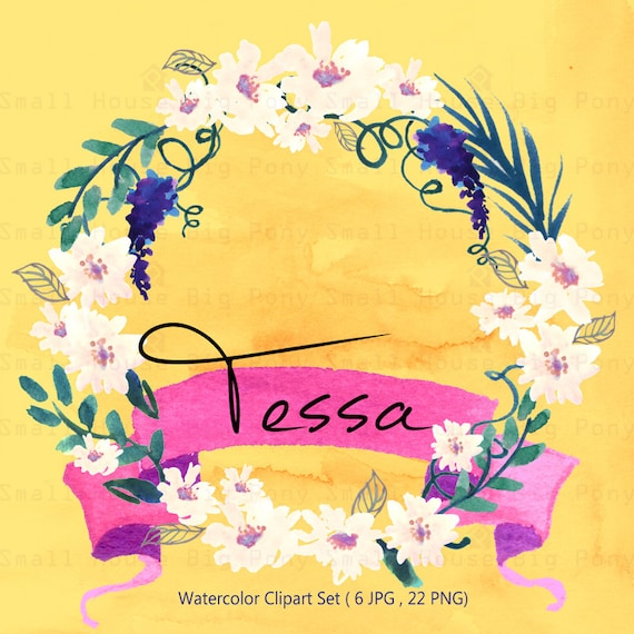 Watercolour Floral Clipart: Floral Wreath, Watercolour Clip Art, White flowers, Individual PNG files/Hand Painted- Tessa