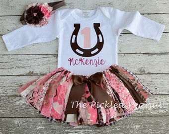 Cowgirl 1st Birthday Girl Outfit First Birthday Baby Girl Cowgirl Baby Tutu Fabric Tutu Cowgirl Cake Smash Baby Skirt Western Pink Brown