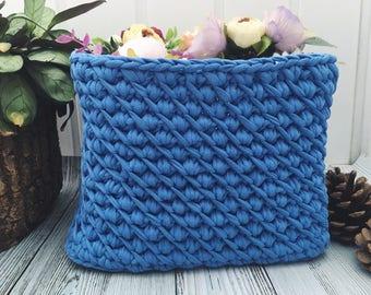 Crochet basket Makeup organizer Basket toy storage Bathroom organizer blue storage basket gift for knitter knitting bowl Desk organizer