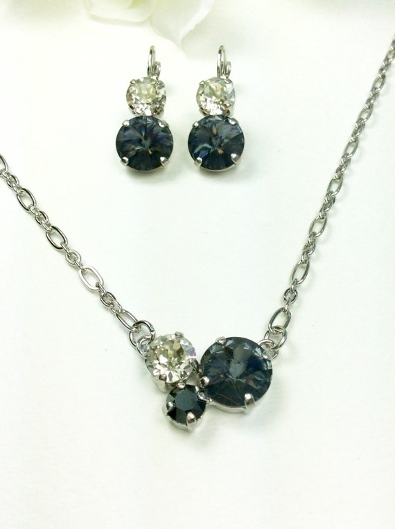 Swarovski Crystal 12MM/8.5mm/6mm Necklace - Silver Night, Silver Shade, and Hematite - Petite & Feminine Cluster Pendant - FREE SHIPPING