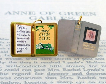 Anne of Green Gables by L.M. Montgomery - Miniature Book Shaped Charm Quote Pendant- for charm bracelet or necklace. Custom available!