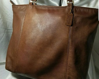 Vintage Coach Tabac Leather Tote