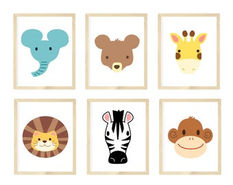 Nursery Wall Art, Nursery Animal Wall Art, Zoo Animals, Zoo animal nursery