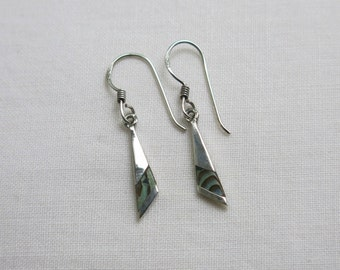 Silver drop earrings with abalone