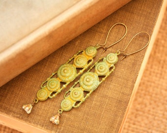 Inca Olive and  Green Bell Flower Patina Drop Earrings