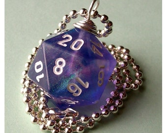 LEGACY Dungeons and Dragons - D20 Dice Pendant - Purple Borealis Glitter- Geek Gamer DnD Role Playing RPG