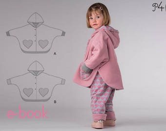 "Reversible cape pattern with sleeves and hood Model ""Mara"" for girls and boys, with cuffs and snap fasteners, ebook, pdf, 6M to 9Y"