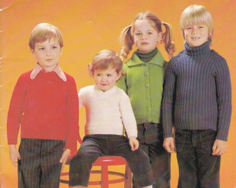 Paton's Classic Series Knitting Pattern No 51 Bluebell, Totem, Jet For Children (Vintage 1970s) Vintage Knitting Pattern
