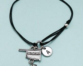 Oklahoma cord bracelet, Oklahoma charm bracelet, adjustable bracelet, charm bracelet, personalized bracelet, initial, monogram