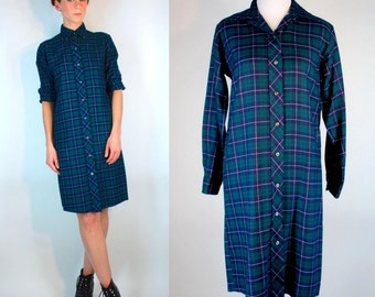 Vintage 80s Plaid Flannel Button Front Shirt Dress. Navy green Retro Menswear Mini Sweater Shift Sheath w/ Long Sleeves. Extra Small - Small
