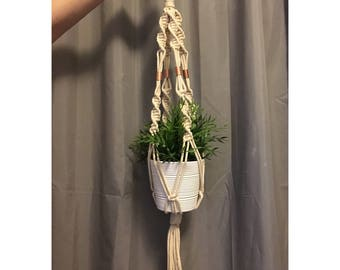 Macrame Plant Hanger, Natural Cotton Macrame Cord, Copper Wall Art, Midcentury Modern Home Decor, Copper Home Decor
