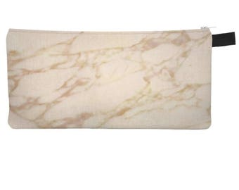 Crema Marble Pencil Case Marble Printed Cosmetic Zip Pouch Makeup Bag