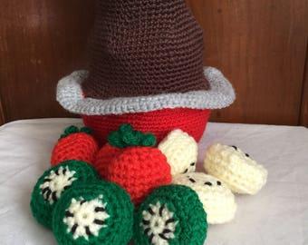 Amigurumi play food, chocolate fountain pretend play, toy food, pretend food, stuffed toy, toddler toy, crochet chocolate fountain