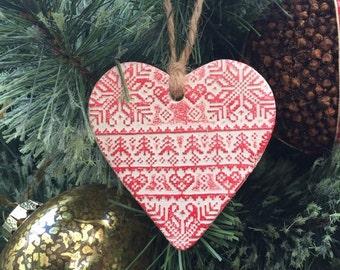 Christmas heart decoration, fairisle print, rustic decoration, christmas decoration, heart decoration
