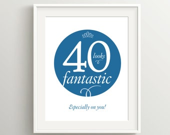 Happy 40th Birthday Card, Instant Download Typographic Art, 5x7 and 8x10 files to print as card or poster