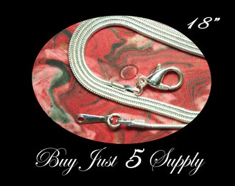 10 Silver Plated Snake Chains with Lobster Clasps... Fused Glass, Pendant Tray Art, Bottle Caps, or Dog Tags