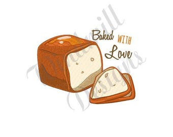 Bread Baked With Love - Machine Embroidery Design