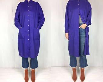 Purple Soft Cotton Oversized Tunic Dress Duster