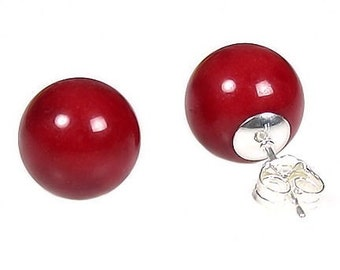 12mm Italian Red Coral Ball Stud Post Earrings 925 Sterling Silver