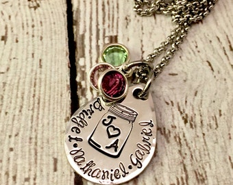 Mother's Necklace Personalized Hand stamped, Mason Jar, Ball Jar, initials, kids names, children, family, Swarovski birthstone crystals