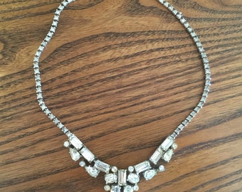 Vintage Clear Baguette, Pearl, Oval and Chaton Crystal Rhinestone Choker Necklace 0905