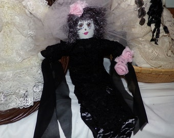 Original Sha Bebe Cloth Doll Made by Cajun Doll Artist, Mary Lynn Plaisance in  Louisiana. Art doll collectibles.