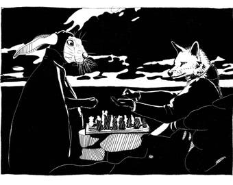 """Long-Sleeve Unisex T-shirt - """"The Seventh Seal"""" A wolf tricks the hare of death in a game of chess in this classic film scene."""