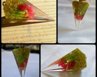 Moss crystal prism pendant