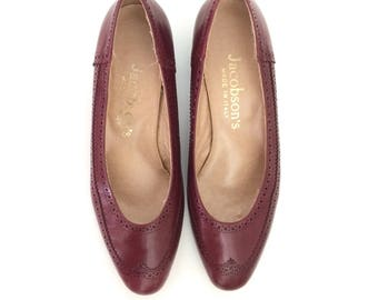 Vintage Italian Leather Burgundy Mod Spectator Pumps