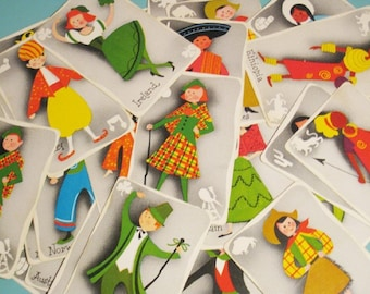 Vintage Twin Kins Boys and Girls of the World Cards - 4 Cards - You Choose 2 Countries or Random