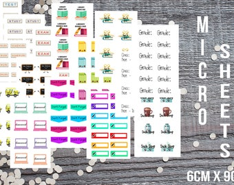 School Themed Micro Sticker Set-Micro Planner Sticker Set for Micro Binder-Tiny Sticker Compatible with Most Planners-Set of 15 Micro Sheets
