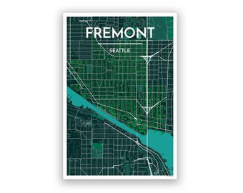 SEATTLE FREMONT, United States, City Map Print // Modern Minimalist Art  Design Home