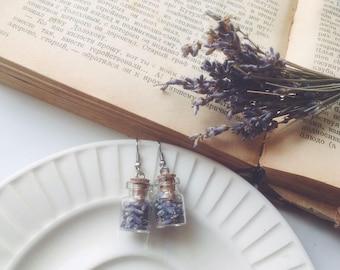 Lavender earrings - botanical bridesmaid earrings - purple wedding - tiny glass bottle earrings with real dried lavender flower