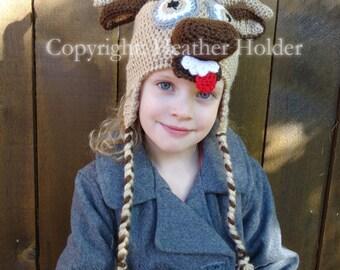 Sven the Reindeer Crocheted Hat Pattern - Instant Download