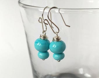 Pale Blue Ceramic and Silver Earrings