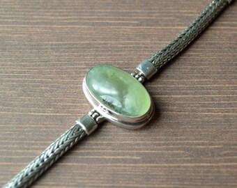 Oval Shaped Prehnite Green Bracelet // Prehnite Jewelry // Sterling Silver // Village Silversmith
