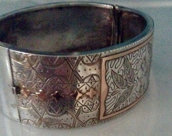 """ViCtorian Sterling Silver and Rose Gold 1"""" cuff."""