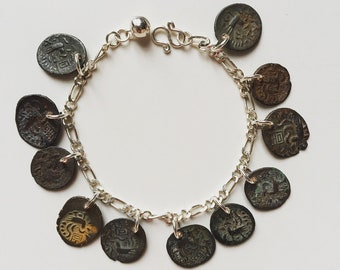 "Rare genuine antique c. 1850-1880 Cambodia coins Hamsa Pe with ""Ji"" (luck) Chinese word silver 925 bracelet"