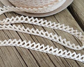 Ivory Crocheted lace ribbon trim Crochet ribbon crochet trim ivory lace ribbon crochet lace trim embellishment wedding lace crocheted lace