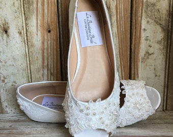 All Lace Open Toe Bridal Flat Shoe Beaded Lace front and Back Flat Open Toe Wedding Shoe