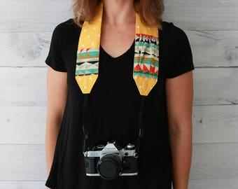 Camera Strap   Mustard Yellow Padded Camera Strap with Tribal Pattern Lens Cap Pockets