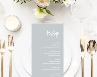 Modern Grey Wedding Menu -  Simple Elegant Wedding Menu - Wedding Reception Decor