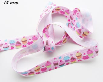 Pink elastic Ribbon cake Cupcake cherry Strawberry 15 mm sold by 50 cm