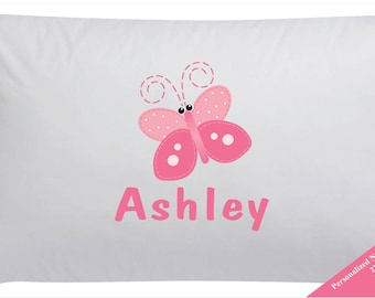 Personalized Pink Butterfly Pillowcase Butterfly Pillow Case