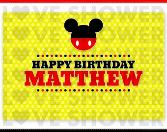 Personalized Party Backdrop - Printable - MICKEY INSPIRED Theme - Dessert Table Background -  PDF