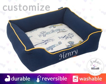 Airplane Dog Bed or Cat Bed  | aeronautical, helicopter, retro, vintage, navy blue, yellow | Washable and High Quality!