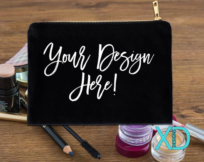 Custom Cosmetic Bag, Women's Makeup Bag, Personalized Cosmetic Bag, Bridesmaid Gift, Gift For Bride, Gift For Wife, Gift For Her, 3 Colors