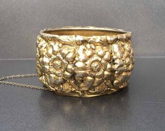 Victorian Revival Bracelet, High Relief Repousse Brass Flower, Statement Bracelet, Huge Cuff Bangle, Vintage Jewelry
