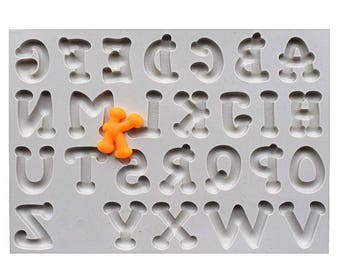 Capital Letters Alphabet Silicone Mold - Curly