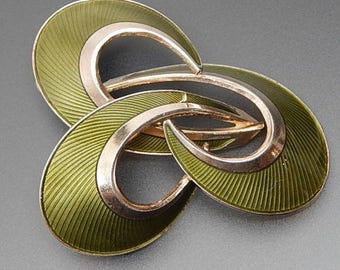 Vintage hroar prydz Norway olive green guilloche enamel modernist brooch pin